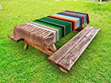 Lunarable Mexican Outdoor Tablecloth, Boho Serape Blanket with Horizontal Stripes and Lines Authentic Cultures Picture, Decorative Washable Picnic Table Cloth, 58 X 104 Inches, Multicolor