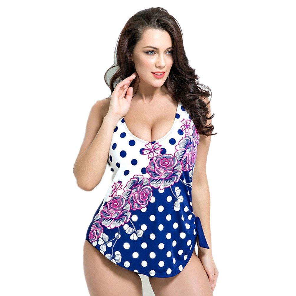 MONICAR Womens Sexy Underwired One Piece Slimming Swimsuit Swimwear Plus Size (US 18W, Style 2 Navy Blue)