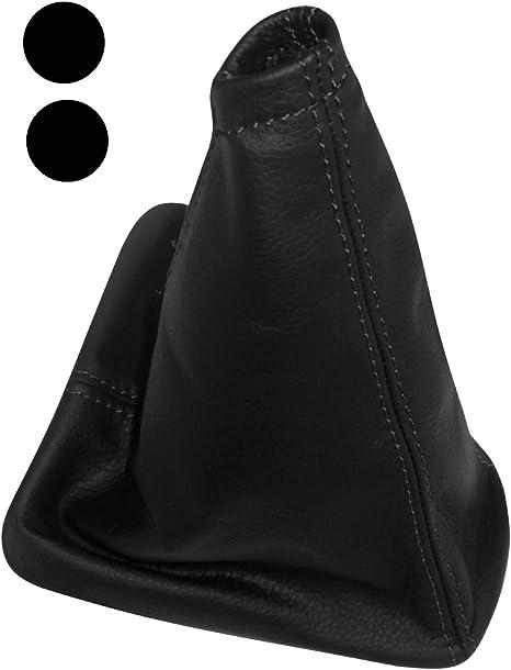 Soufflet de Levier de Vitesse et Frein /à Main en 100/% Cuir v/éritable Noir avec Coutures Noires AERZETIX
