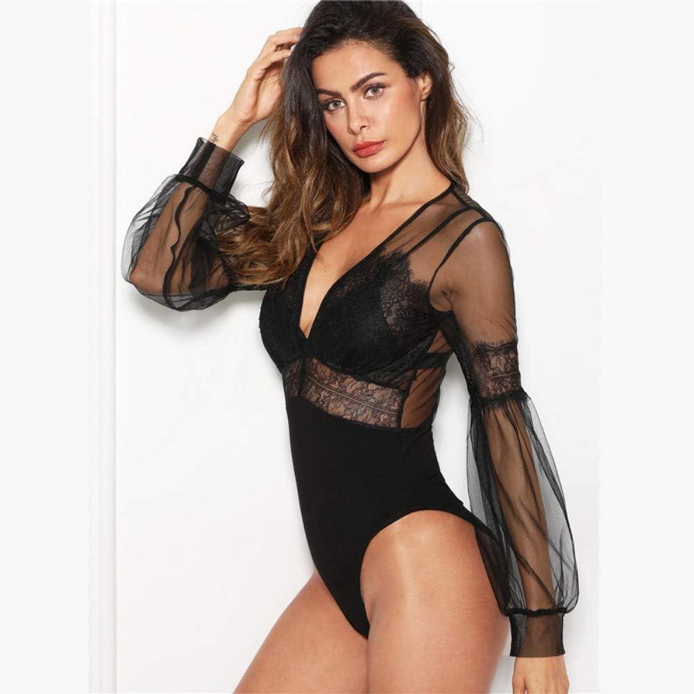 JJHR Bodysuit Noir Dentelle Ins/érer Sheer Mesh V Cou Body Maigre Femmes /À Manches Longues Zipper Moulante Bureau Dames Bodys