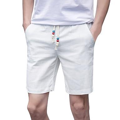 db30d6ede940d WUDUBE Coton de Plage d'été pour Hommes Solide Plage Casual Taille ...