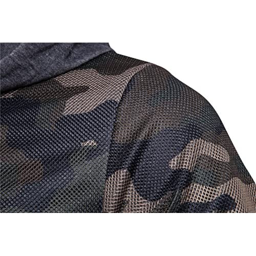Elonglin Mens 2 in 1 Camouflage Pullover Hooded Sweatershirt Boy Military Sweater Drawstring with Zipper Cotton Blends