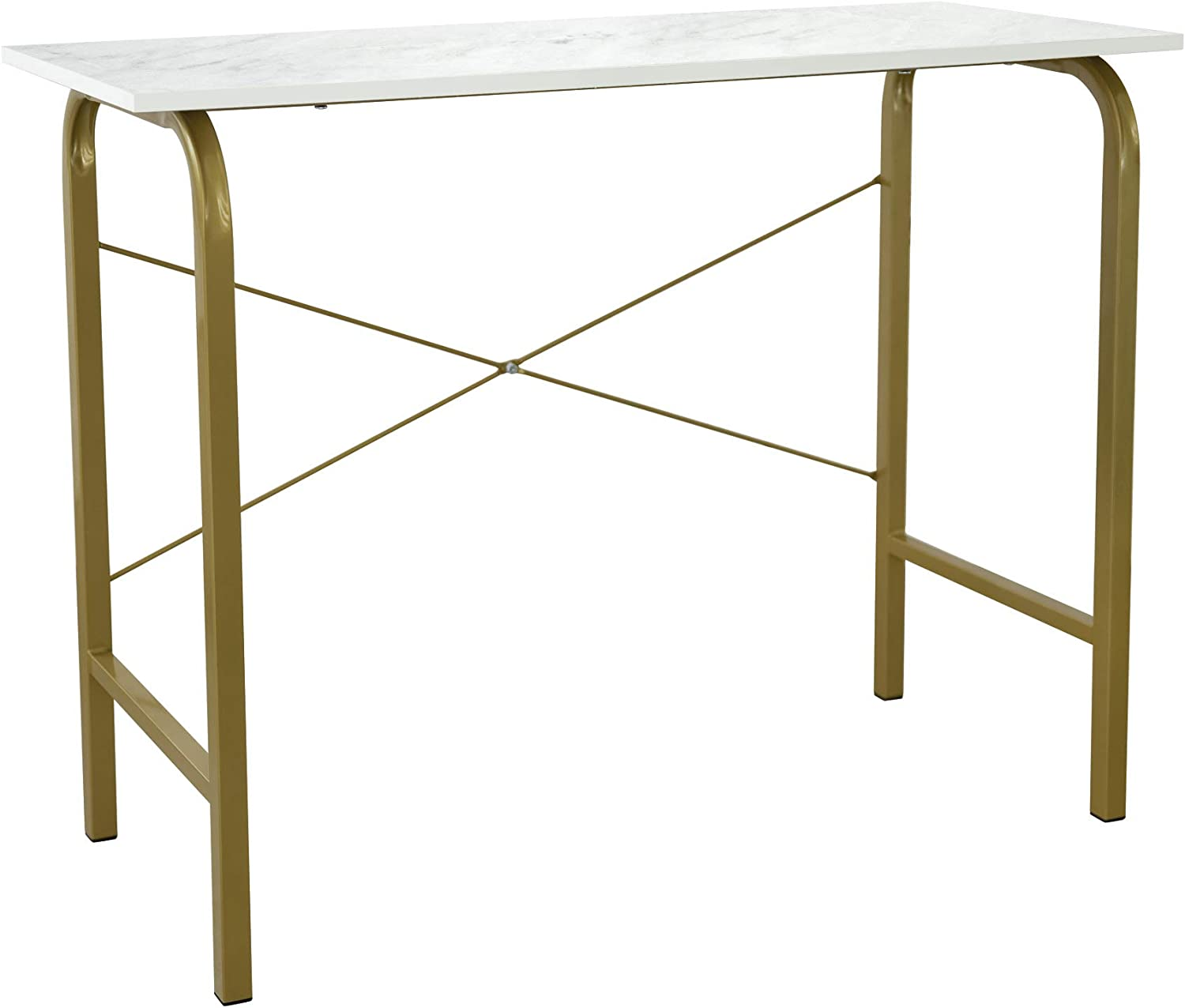 """Versanora Bella 40"""" Modern Home Office Study Computer Desk with Gold Metal Legs and Faux Marble Top for Small Spaces, Brass/White"""