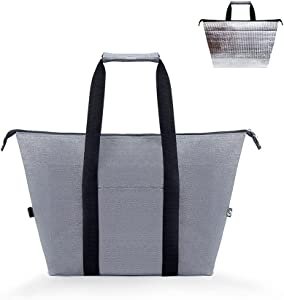 Reusable Grocery Bag with Handle, Light-weight Thermal Insulated Cooler Bag Keep Food Cold/Warm for Delivery, Shopping, Picnic, 20L Heavy Duty & Foldable Zippered Top Food Transport Tote -Iknoe Grey