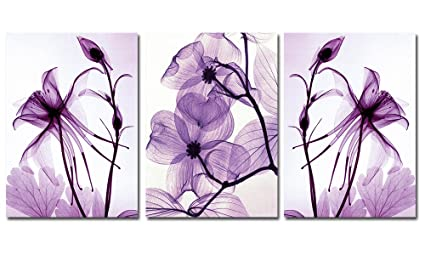 Eden Art 3 Panels Transparent Purple Flowers Pictures Photos Prints on Canvas Wall Artwork, High