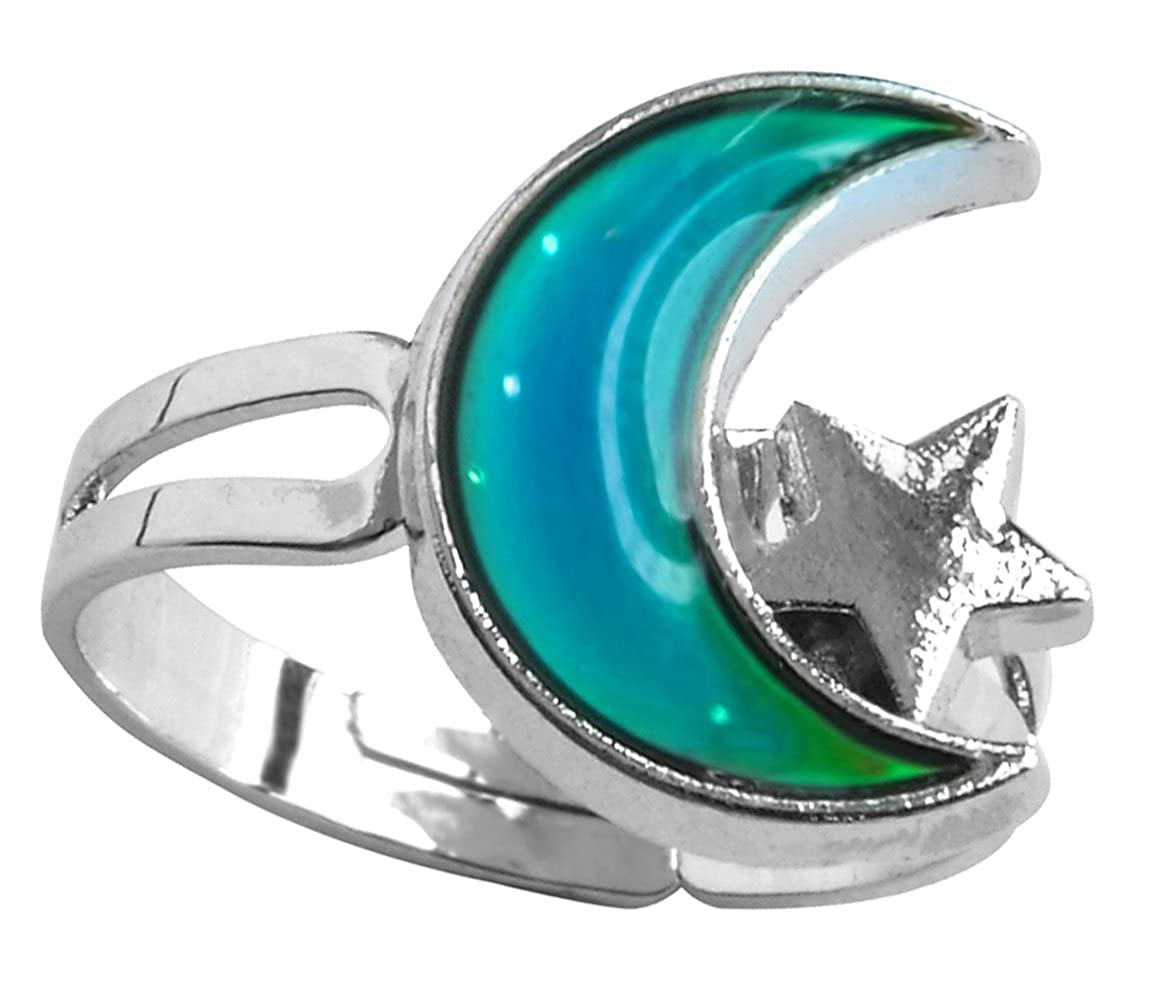 Acchen Mood Ring Moon Star Changing Color Emotion Feeling Finger Ring with Box