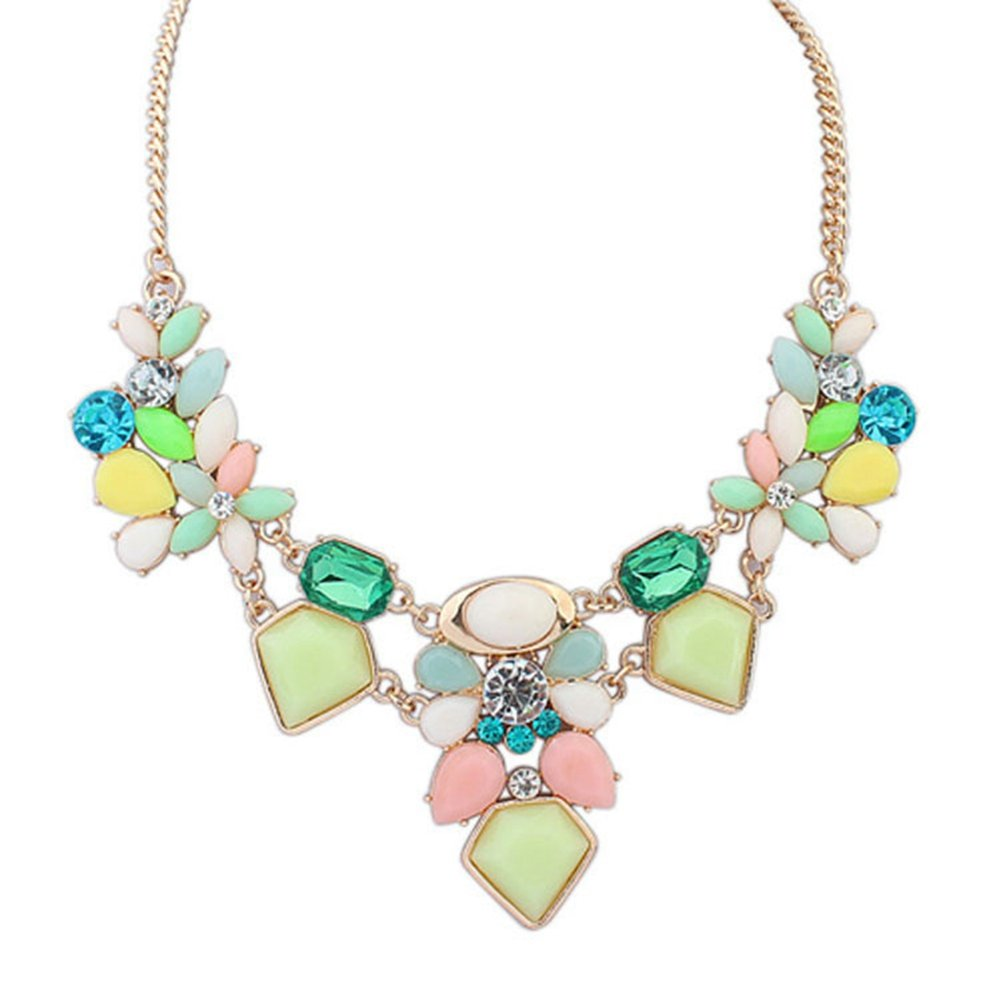 Jude Jewelers Retro Style Fashion Bib Collar Party Cocktail Statement Necklace (Green)