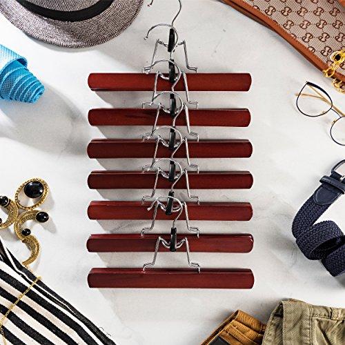ZOBER Premium Wooden Pants Hangers (Set of 10) Solid Lacquered Non Slip Trouser Hanger, Cloth Safe Lock Skirt Hangers, 360 Degree Swivel Hook, for Skirts, Pants, Jeans, Slacks, Shorts, (Cherry Wood) by ZOBER (Image #4)