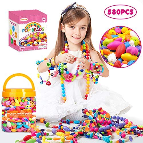 Oumoda ポップビーズ 女の子用 おもちゃ 580ピース DIYジュエリーキット - キッズスナップビーズジュエリー DIYセット ネックレス、ブレスレット、リング、ヘアバンド、イヤリング- アートクラフトキット 4、5、6、7、8、9歳の女の子用