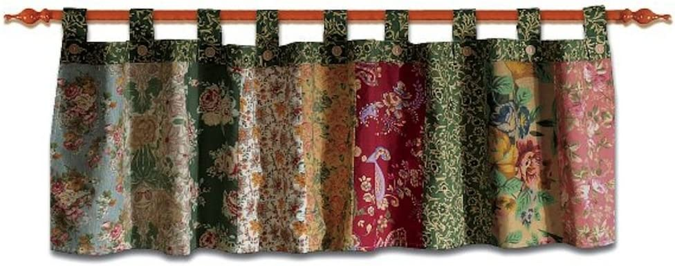 """Greenland Home Fashions Antique Chic Patchwork Tab Top Valance 84"""" W x 21"""" L"""