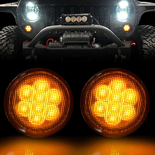 IPARTS Smoked Front Turn Signal for Jeep Wrangler JK JKU Unlimited Rubicon Sahara X Off Road Sport Exterior Accessories Parts 2007 2008 2009 2010 2011 2012 2013 2014 2015 2016 2017-Pair (2013 Jeep Wrangler Unlimited Parts And Accessories)
