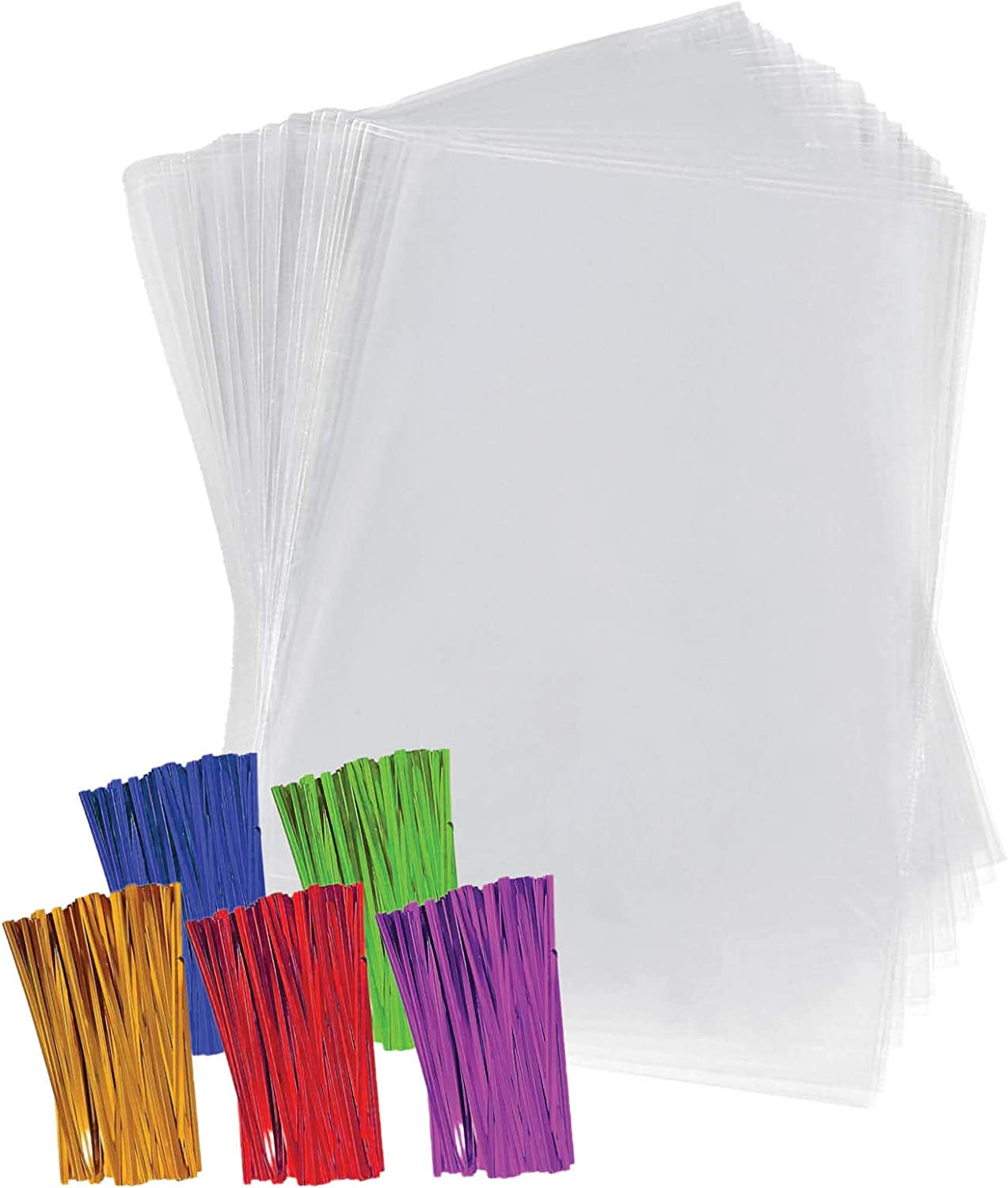 "Clear Plastic Cellophane Bags with 4"" Colored Twist Ties for Gifts Party Favors (6""x9"", 200 Pack)"