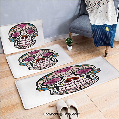 FashSam 3 Piece Non Slip Flannel Door Mat Spooky Sugar Skull with Pink Roses Twigs Blooms Teeth Smile Halloween Decorative Indoor Carpet for Bath Kitchen(W15.7xL23.6 by W19.6xL31.5 by W19.6xL59) -