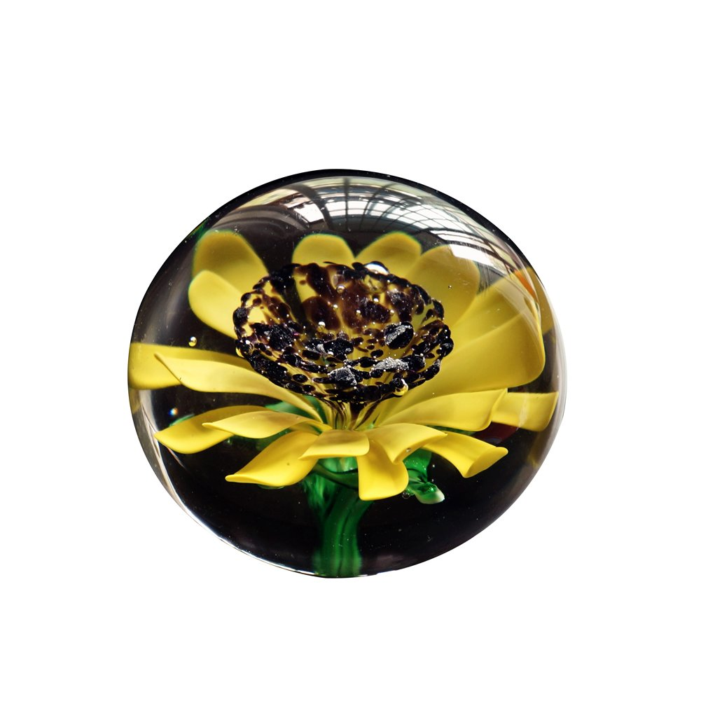 OMEM Fish Tank Crystal Sunflower Ball,Crystal Glass Ball Ornaments,Aquarium Fish Tank Gravel Decorations,Aquarium Decor (Sunflower Ball)