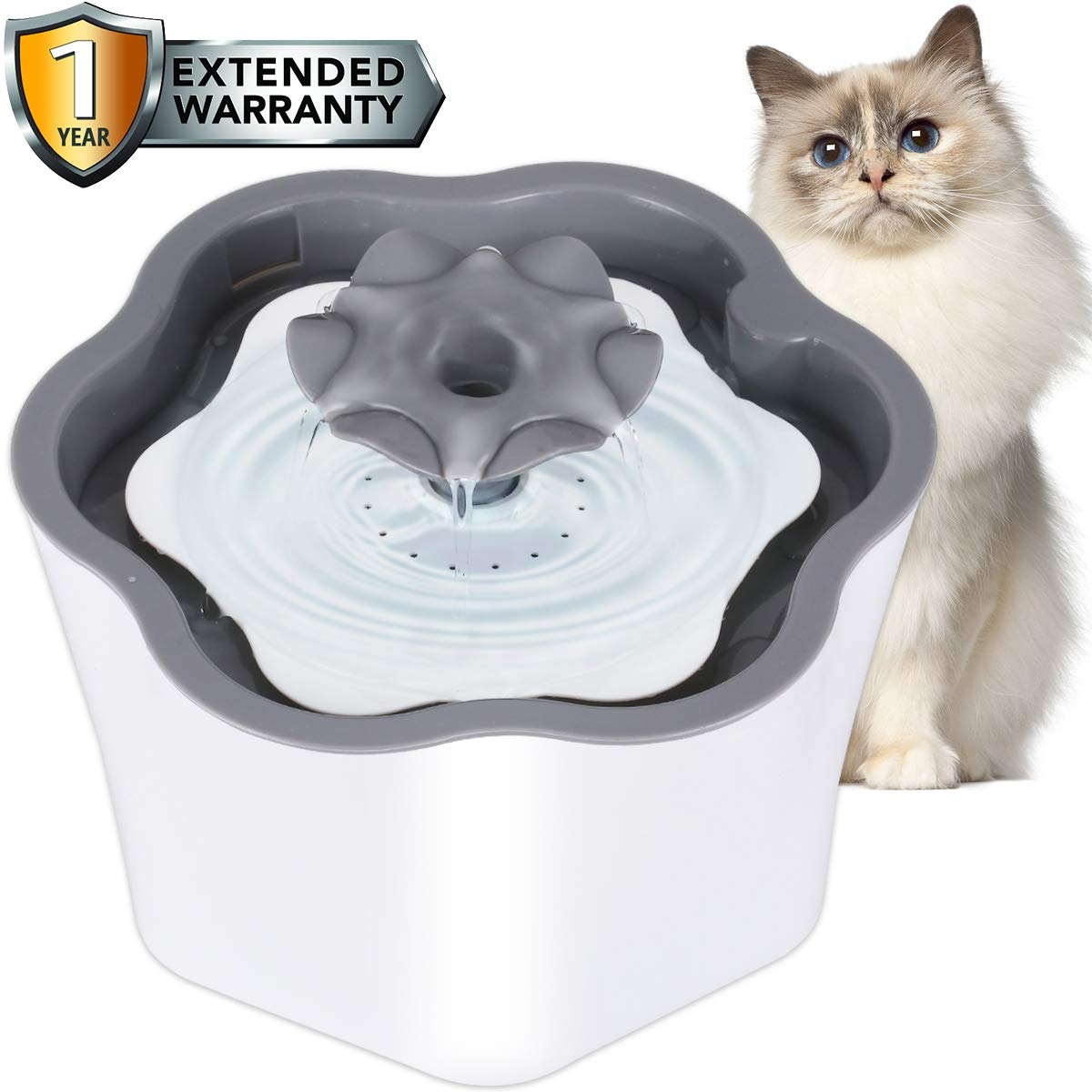 Cat Water Fountain with Filter 2L Intelligent Power Off Removable Washable Pump, Pet Water Dispenser Automatic Drinking Fountains for Cats Dogs Small Animals (Grey) by ENJOY PET