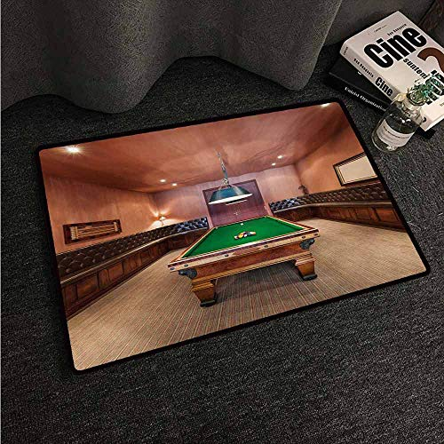(HCCJLCKS Front Door Mat Large Outdoor Indoor Modern Entertainment Room in Mansion Pool Table Billiard Lifestyle Photo Print Easy to Clean Carpet W31 xL47 Cinnamon Brown Green )