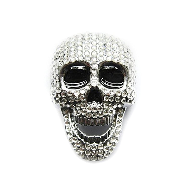 eeddoo® Gürtelschnalle - kunstvoller Totenkopf mit strahlenden Kristallen - (Buckle für Wechselgürtel für Damen und Herren | Belt Frauen Männer Oldschool Rockabilly Metall Gothic Wave Rock Biker)