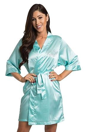 15a9149204 Zynotti Women s Personalized Clear Rhinestone Monogram Satin Robe Aqua Satin  Robe S M ...