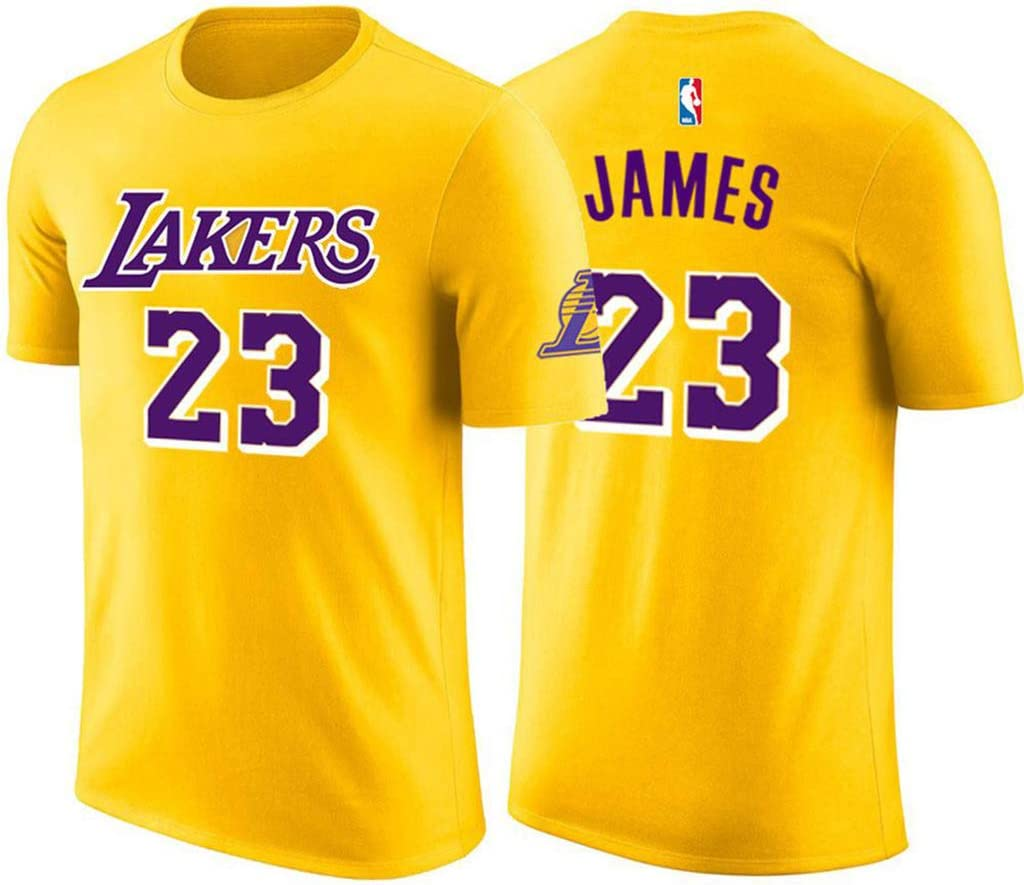 Unisexe Manches T-Shirt Pilang Jersey de Basket-Ball Cool Tissu Respirant Les Lakers de Los Angeles Manches Lebron James # 23
