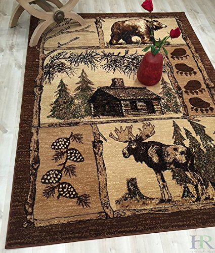 3' 2 Inch Area Rug - HR-Lodge, Cabin Nature and Animals Area Rug-(5' 2