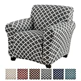 Printed Stretch Arm Chair Furniture Cover Slipcover Brenna Collection, Charcoal