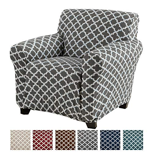 Home Fashion Designs Printed Stretch Arm Chair Furniture Cover Slipcover Brenna Collection, Charcoal (Armchairs For Slipcovers)
