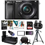 Sony Alpha a6000 24.3MP Mirrorless Digital Camera with 16-50mm Lens (Black) and Accessory Bundle