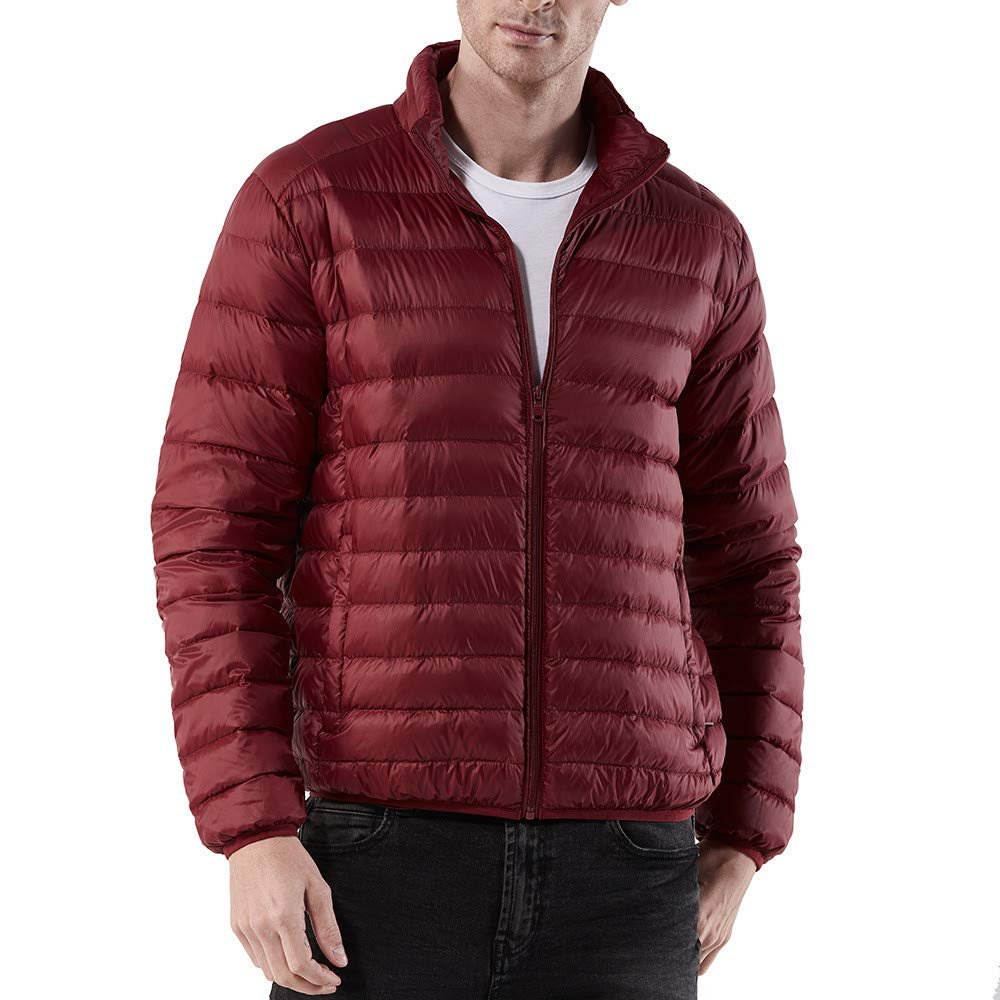 TWBB Daunenjacke, Herren Einfarbig Winter Warme Mantel Baumwollkleidung Pullover Mit Reiß verschluss Outwear