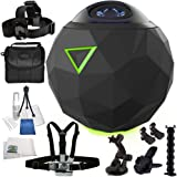 360fly 4K Video Camera 11PC Accessory Bundle - Includes Manufacturer Accessories + Extension Arm + Flex Clamp + Carrying Case + Cleaning Cloth + MORE