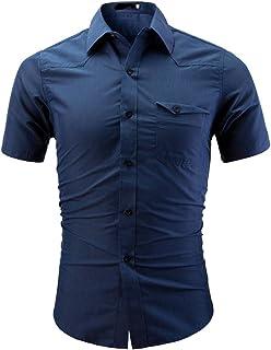 Chemises Homme Chemises BoutonnéEs Taille Plus Hommes Chemise Mode Solide Couleur MâLe Casual Chemise À Manches Courtes HCFKJ - MS