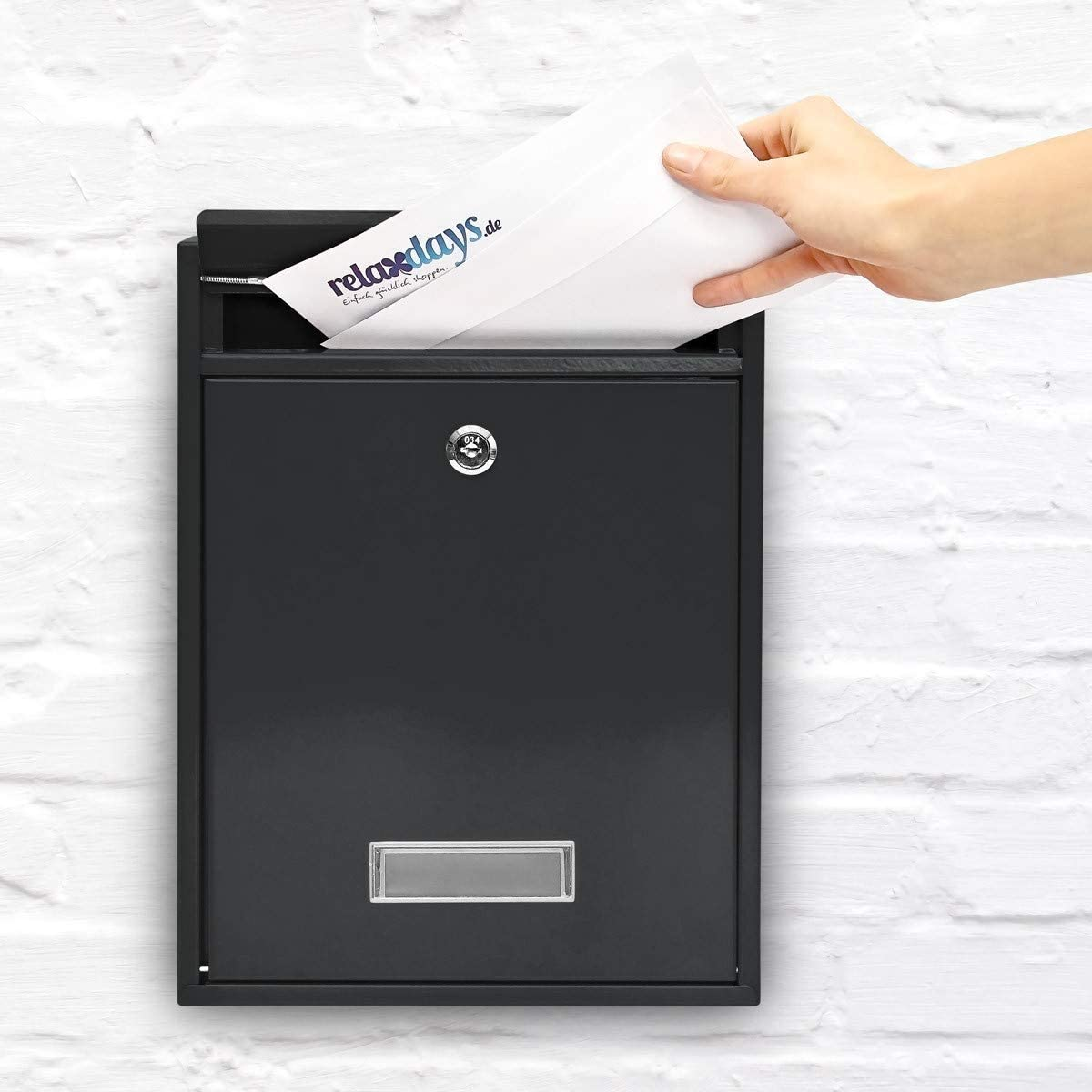 Silver Relaxdays Modern metal mailbox//letterbox 26.5 x 35 x 8.5 cm