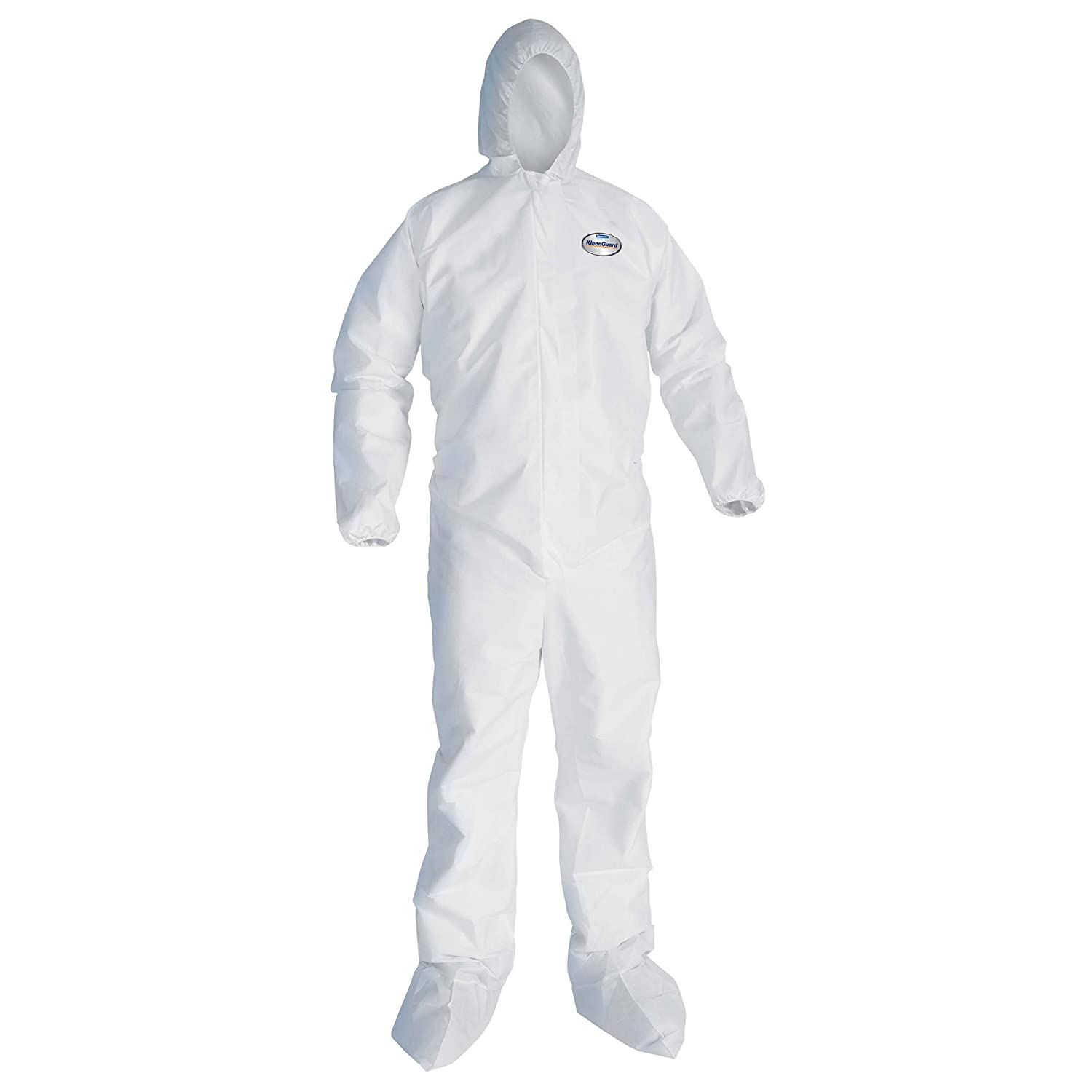 Amazon.com: Kleenguard A10 Light Duty Coveralls (10606), Zip Front, Elastic  Wrists, Hood, Boots, Breathable Material, White, Large, 25 / Case:  Industrial & ...