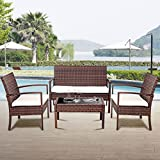 ANA Store Brown Wicker Weaved Comfortable Seat Set of 4 Pcs Rectangle Body Top Coffee Bar Sofa Side Talking Table with Bed Lounge 2 Armchair 4 Piece Rattan Outdoor Patio Yard Group Dining Table