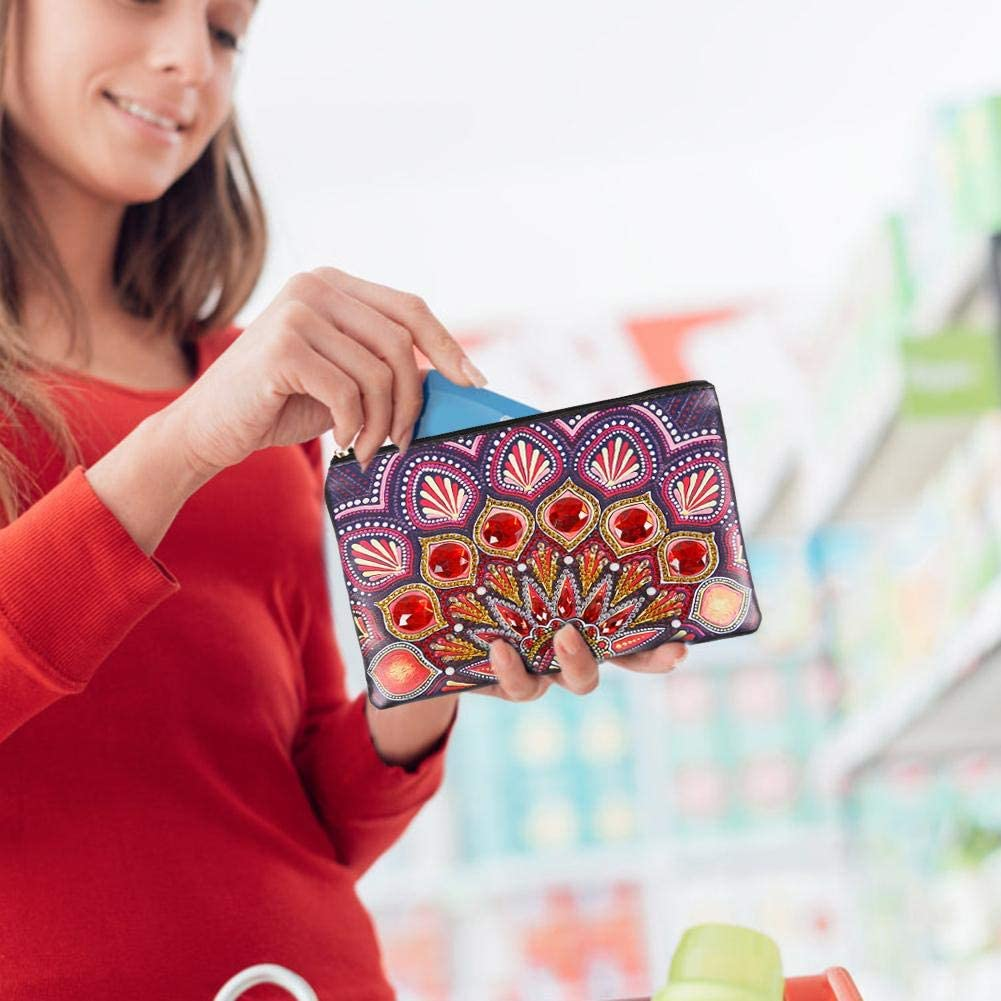 Domybest Portefeuille Femme Wristlet Wallet DIY Diamond Painting Clutch Pochette en Cuir avec Sangle Porte-cartes Porte-Monnaie Pochette T/él/éphone Trousse de Maquillage Voyage