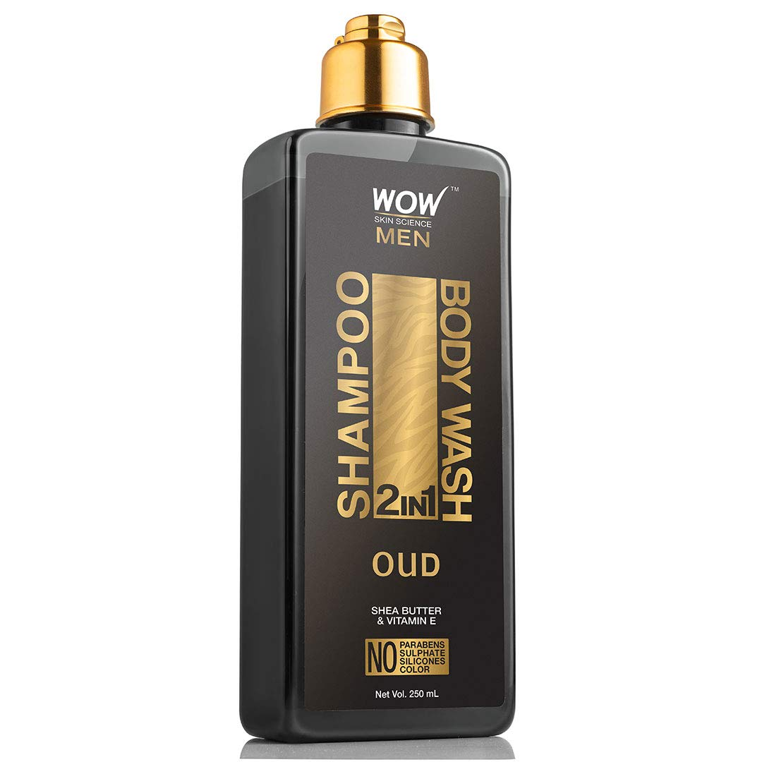 WOW Skin Science Oud 2-In-1 Shampoo + Body Wash - No Parabens, Sulphate, Silicones & Color, 250 ml