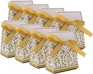 KUPOO 50PCS Candy Boxes,Gold Ribbon Wedding Favor Boxes Candy Bag Cake Box for Wedding Party Decoration Easter (Gold)