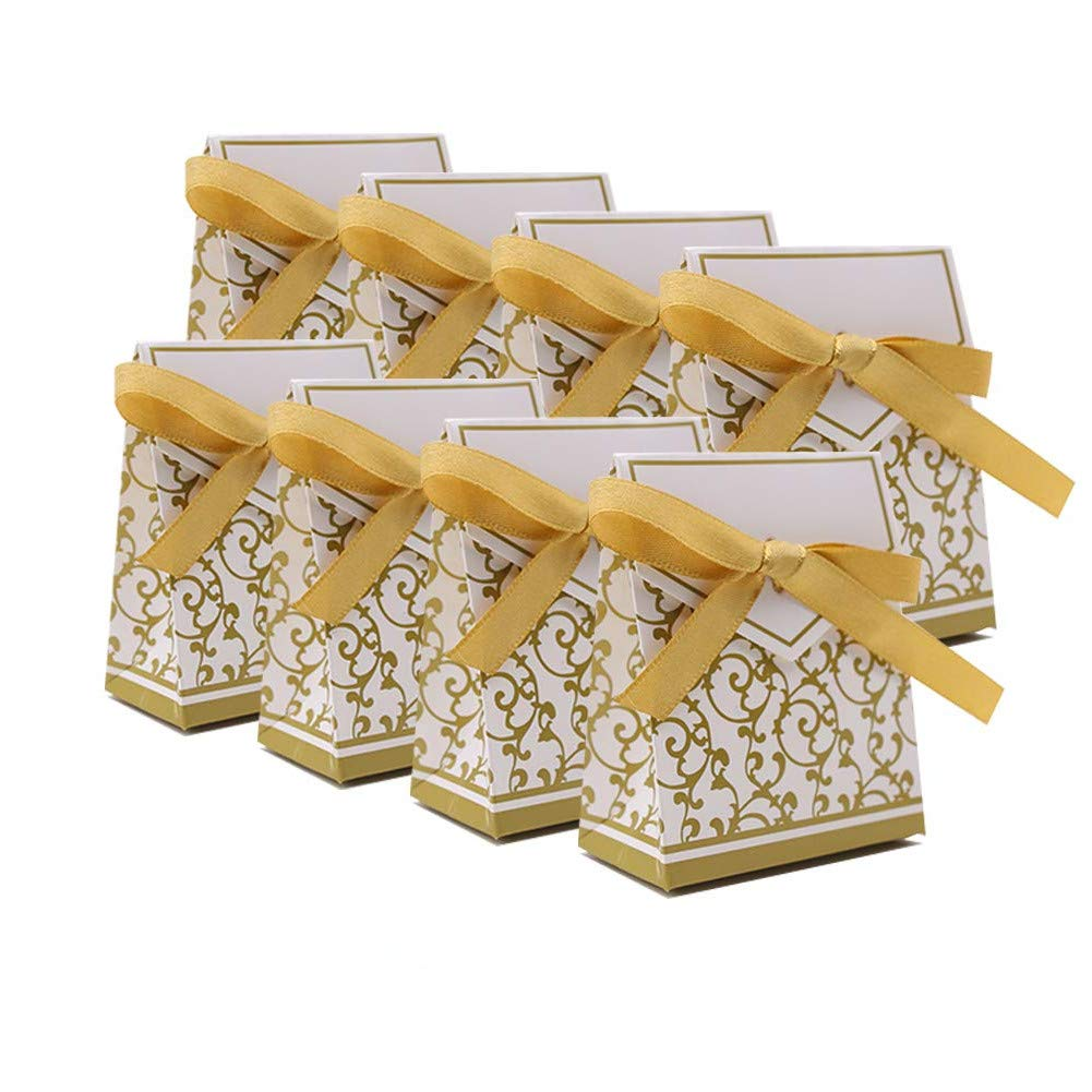 Gold KUPOO 50PCS Candy Boxes,Gold Ribbon Wedding Favor Boxes Candy Bag Cake Box for Wedding Party Decoration Easter