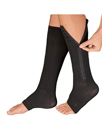 3db638998a Amazon.com : Zippered Compression Knee Socks Supports Stockings Leg Open Toe  - Black Color - XL Size : Beauty