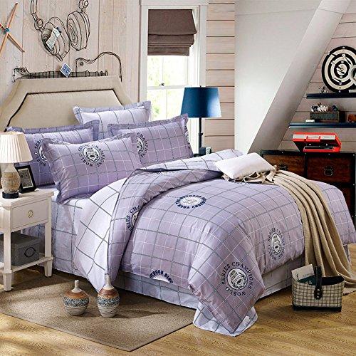 TOP SHOP Home FTSUCQ Purple Grid Linen Bed Sheets Quilt Covers Bed Mattress Bedding Four-PCS Sets,size-3 (Sheet Top Kidsline)