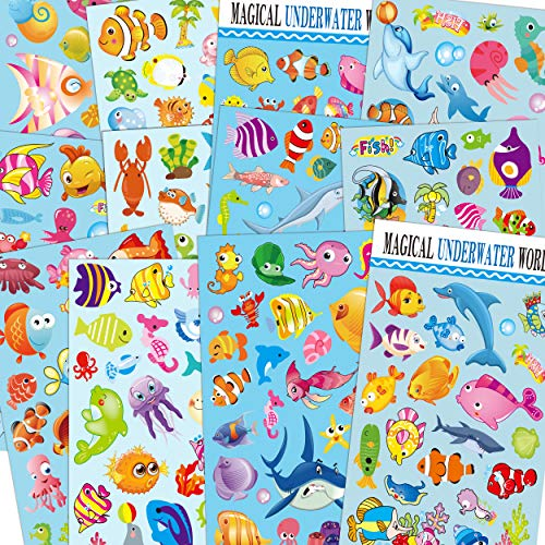 HORIECHALY 12 Sheets Sea World Scrapbook Decal Stickers for Kids with Angelfish, Sharks, Starfish, Sharks, Hippocampus, Octopus, Whale, Great as Reward Stickers Birthday Party Favors Toddlers