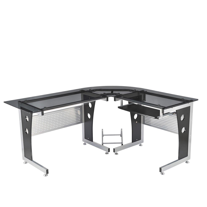 Homcom® Computertisch Eckschreibtisch Schreibtisch Bürotisch PC Tisch mit schwarzem Sicherheitsglas