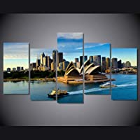 jjshily Modulare Wall Art Poster Room Home Decor Canvas Pictures5 Pezzi Sydney Opera House Building Boat Seascape Painting