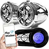 """GoldenHawk 3"""" Waterproof Bluetooth Wireless Motorcycle Stereo Speakers 7/8-1 in. Handlebar Mount MP3 Music Player Sound Audio System Scooter ATV UTV w/USB Read & Charge, SD Card"""