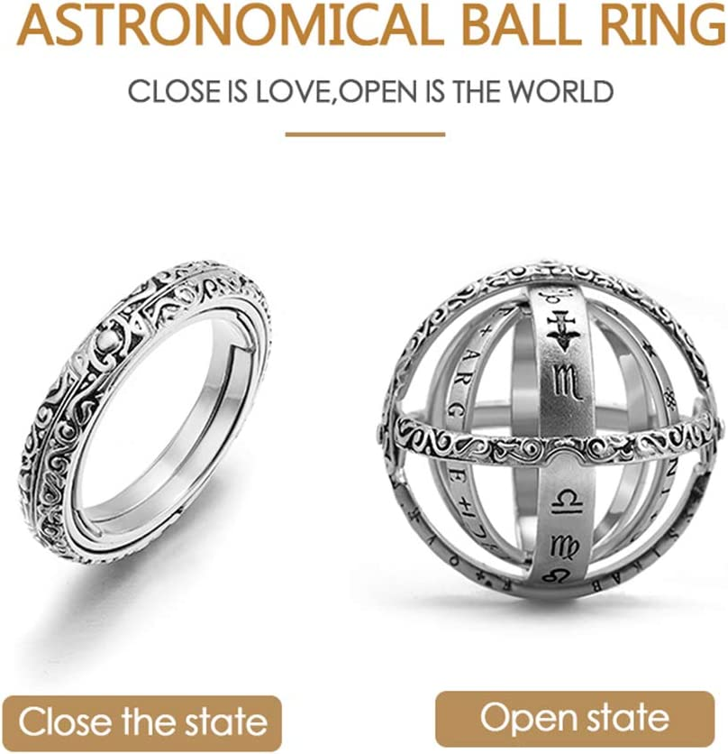 Exquisite Workmanship,with Good Packaging /&Chain Close is Love,Open is The World,Best Gift for Lover Luxury Copper Gold Plated //925 Silver Astronomical Ring That Folds Out to an Astronomical Sphere