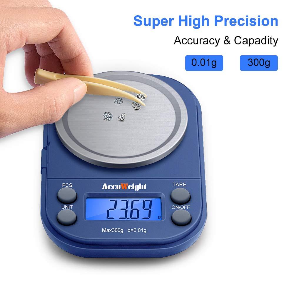 ACCUWEIGHT 255 Báscula Digitale de Precisión, 300 g / 0.01 g Balanzas de Joyería Portátiles, Funda Protectora Multifunción, Plataforma de Acero Inoxidable, ...