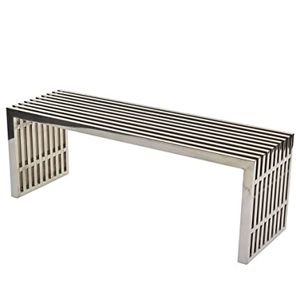 Modern Dining Bench Backless Metallic Welcome Home Decorative Furniture  Entryway Indoor Room Entry Foyer Midcentury Metal