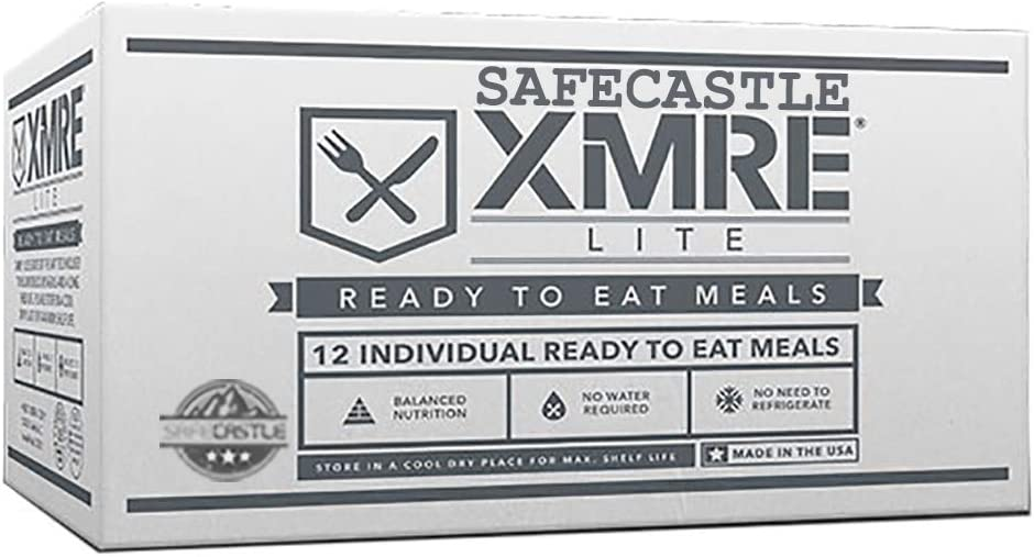 MRE Meals Ready to Eat, MRE Emergency Food Supply Contains: 12 Meals/Case with FRH Heaters, LITE Menu, 600-900 Calories/MRE Meal. Fresh Pack Dates Bundled with Safecastle Guide (Lite Menu w/Heater)