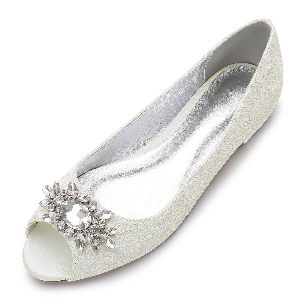 MarHermoso Womens Peep Toe Flats Elegant Ivory Lace Rhinestones Wedding Bridal Ballet