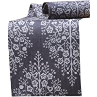 Mahogany Tree of Life Jacquard Fused Reversible Runner, 13 by 72-Inch, Black
