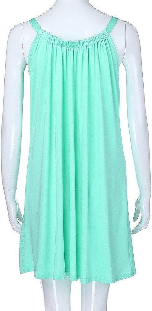 Xiaojmake Women Summer Casual Mini Dress Sleeveless Beach Bikini Swimsuit Cover Up